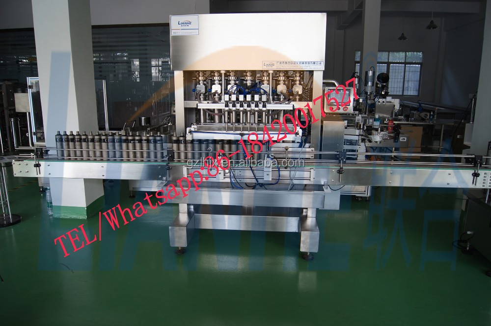 6 filling heads filling machine, capping and labeling full automatic line, full automatic plastic bottle filling machine