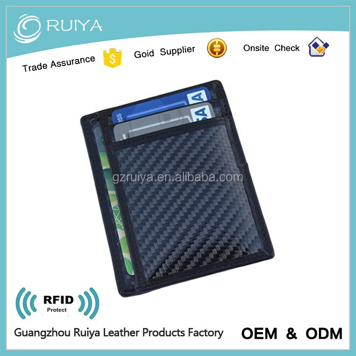 RFID Blocking Leather Slim Wallet Minimalist Front Pocket Wallets For Men Credit Card Holder Made From Genuine Carbon Fiber