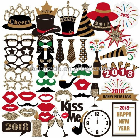Dress-up Party Favors Kits 2018 New Year Celebration Photo Booth Props