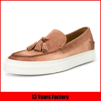 OEM ODM customized logo newest design comfortable flat style sand color fashion ladies moccasin shoe