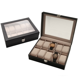 Watch Box 10 Slots Pu Leather Display Glass Top Jewelry Case Organizer Box