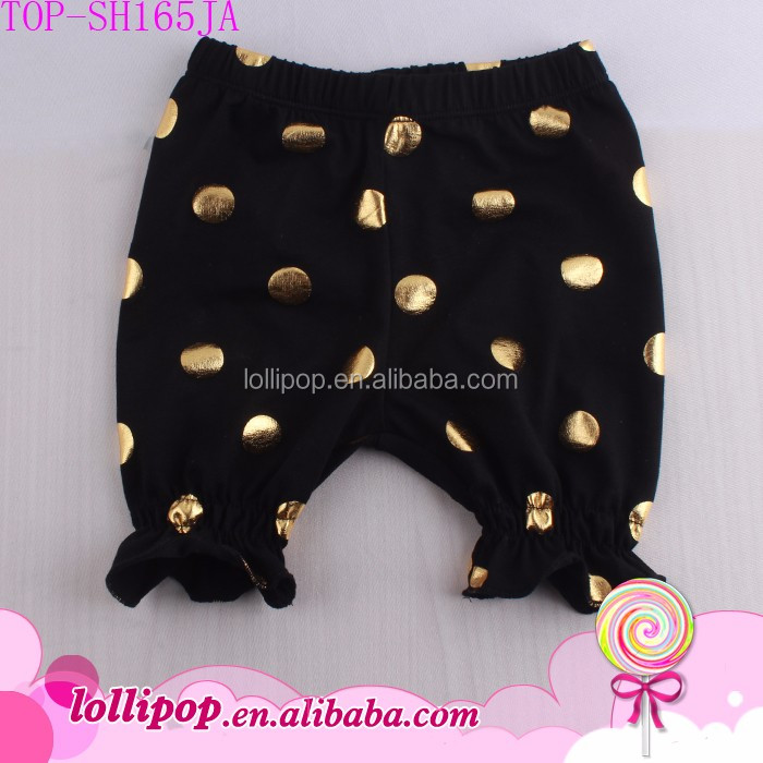Summer Unisex Toddler Baby Bubble Shorts Black/Gold Polka Dots Elastic Bottom Kids Seersucker Bubble Harem Short Pants