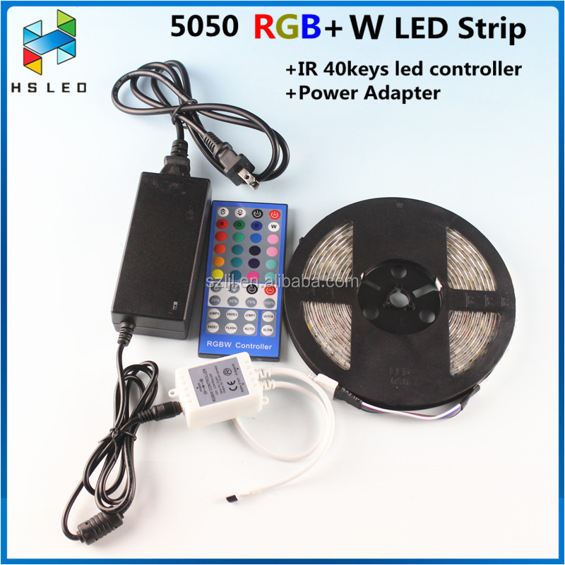 Cheap price 12V 10M 5M RGBW LED Strip 5050 5M/Roll Waterproof led light 5M+Remote Controller+DC 12V Power Supply EU UK US AU plu