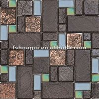 Brown glass and ceramic backsplash mosaic tiles HG-8810