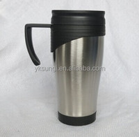 Classical double wall plastic inner and stainless steel outer coffee travel mug with handle
