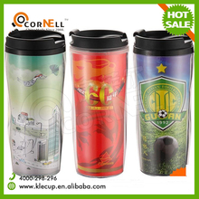 new product calabash shape double wall plastic tumbler cups with lid paper insert