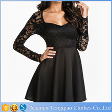 Wholesales Women Lace And Space Cotton Montage Long Sleeve Mini Short Black Lace Dress Women Cocktail Dress