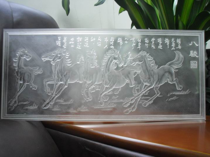 transparent laser engraved Chinese painting 8 steeds painting