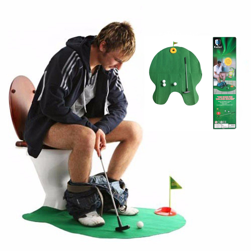 Caiton Golf putting green Funny Toilet Bathroom Mini Golf Mat Set Potty Putter Putting Game Men's Toy Novelty Gift
