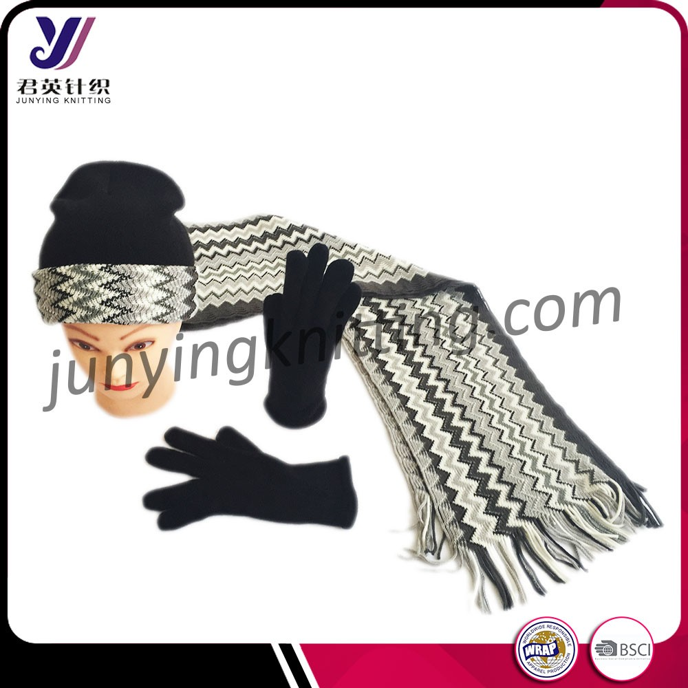 A winter set 100% acrylic men knitted hat scarf glove sets