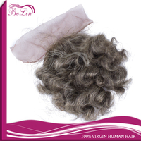 gray color custom made cheap virgin hair silk base free part closure toupee for grandmother