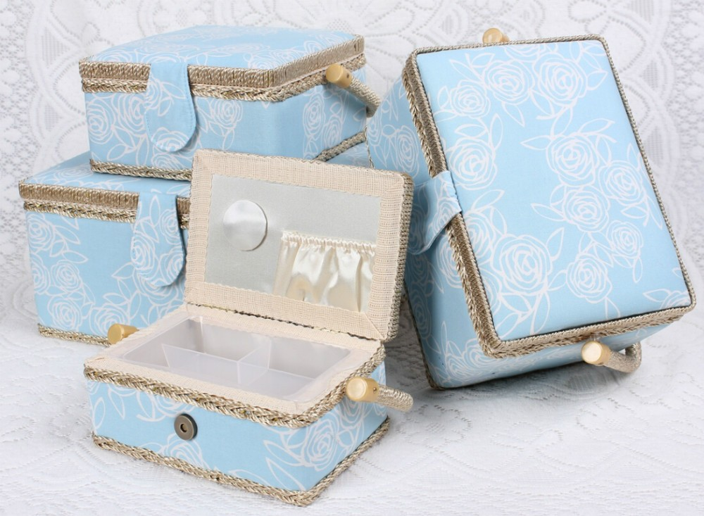 D&D craft with accessories notions handmade storage box fabric sewing basket