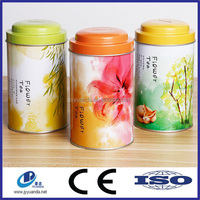 Decorative round tea tin box wholesale tea tin printed tea can