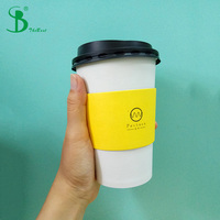 coffee house custom made printed 10oz 12oz 16oz disposable coffee paper cups with ps lids