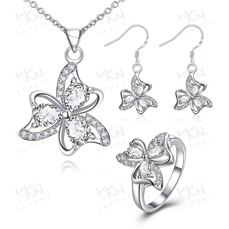China Wholesale fashion 925 silver plated beatiful artificial Jewelry set for free shipping