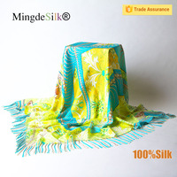 Hand rolled infinity silk shawl scarf with fringe