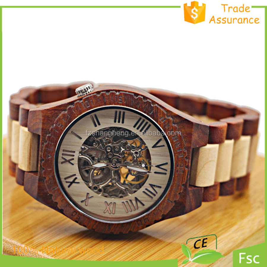 Seagull Movement Hot Sale Quality Newest Luxury Watch Wood Skeleton