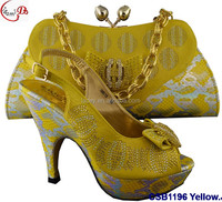 CSB1196 Yellow New designs of low heels shoes/sandals/slippers women shoes matching bag for wedding/party