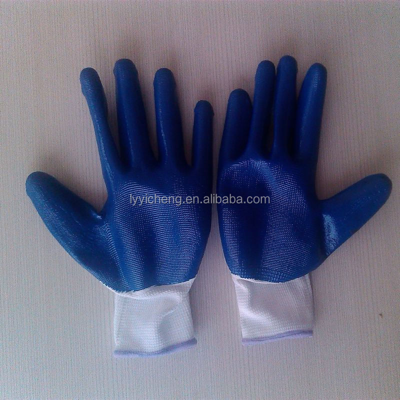 nitrile coated work glove/print nylon gloves nitrile
