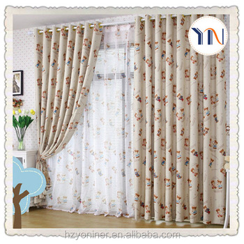 Lovely cartoon printed blackout curtain fabric for kids for Cheap childrens curtain fabric
