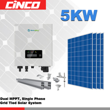 On solar PV home system 5kw including solar panel,grid tie inverter and mounting