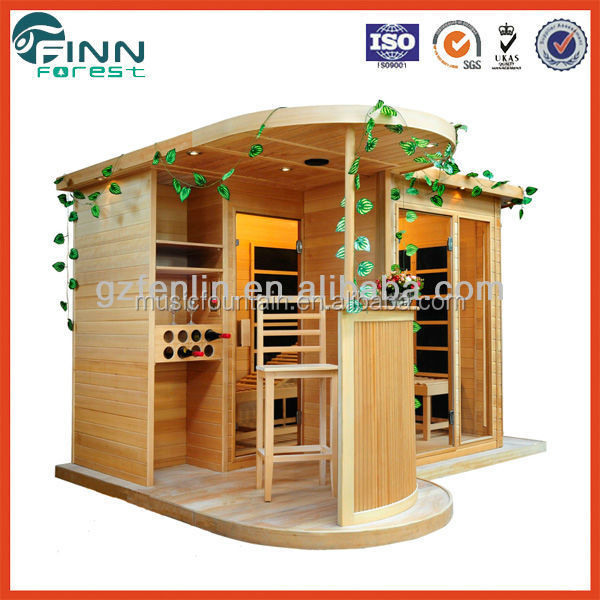 Traditional red cedar outdoor sauna room with heater for house designs