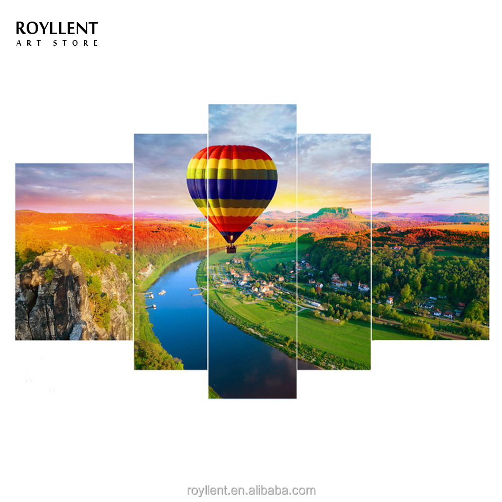 5 panneau toile mur art coloful hot air ballon maison peinture cadres photo impression salon mis
