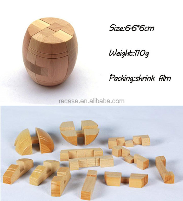 3D intellectual wooden IQ wooden solid wood barrel puzzles game