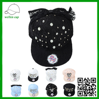 fancy lace fabric without brand pearl jewels decoration snapback cap for wholesale