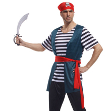2017 Men Pirate Halloween Costume for Adult with Hat and Boots