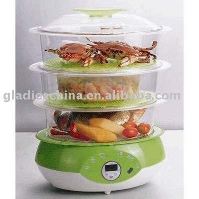 9L 850W 3 layers Plastic Food Steamer with GS/ROHS/CE
