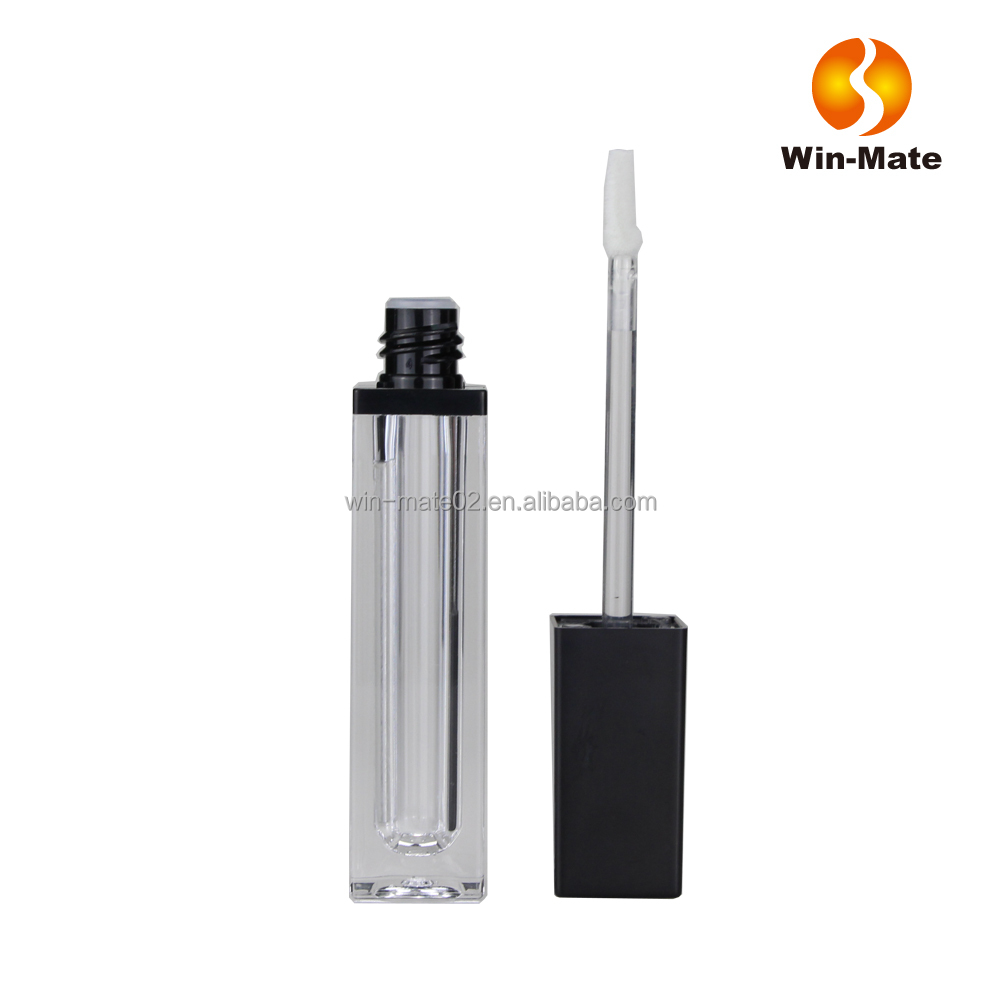 make your own liquid lipstick container transparent square empty lip gloss tube with mirror