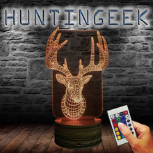 Christmas Decor 3D Illusion Deer Head Night Light LED Color Changing Calming Sleepy Light For Kid Gift Room Decor USB Powered