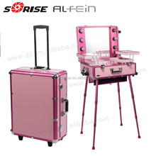Wholesale aluminum trim trolley rolling professional beauty makeup vanity case with light