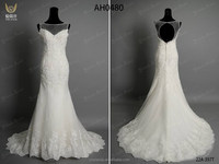 Top Selling keyhole Back Beaded Lace Mermaid Wedding Dress With Sparkle