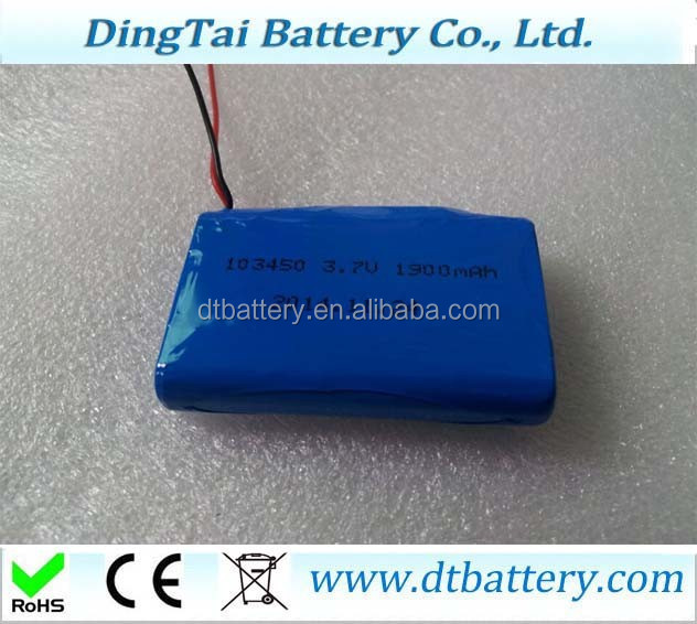 MOLI ICP103450CA 103450 3.7V 1900mAh Li-ion Pristimatic Cell with PCB