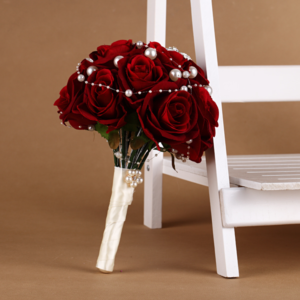 Silk Red Rose Bouquet Marriage Wedding Bouquets With Pearl Chain ...