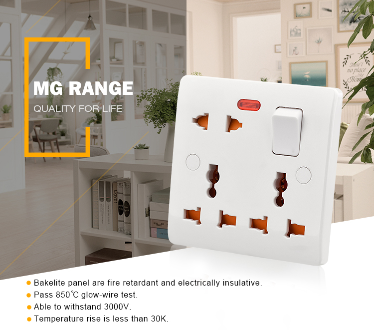Multi-function universal 8 pin 13a multi plug switched socket