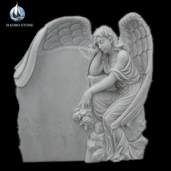 Haobo Stone China White Marble Cemetery Tombstone Angel, Granite Monument