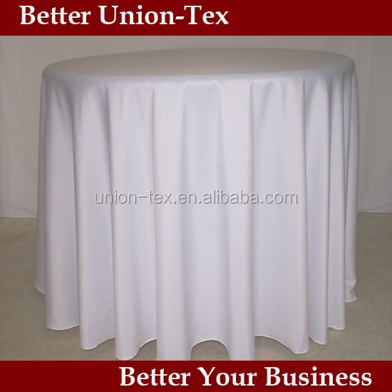 "white plain polyester 120"" round wedding table cloth/cloth"