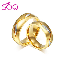 2018 Fashion Jewelry Never Fade 18k Gold Plated 316l Stainless Steel Engagement Wedding Ring Valentines Gift