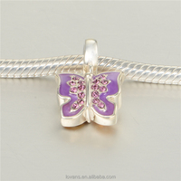 Wholesale Factory Charms Enamel Jewelry Repical Charms Purple Butterfly Charm S259