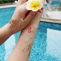 Beautiful flower design 3d temporary tattoo for beach activity