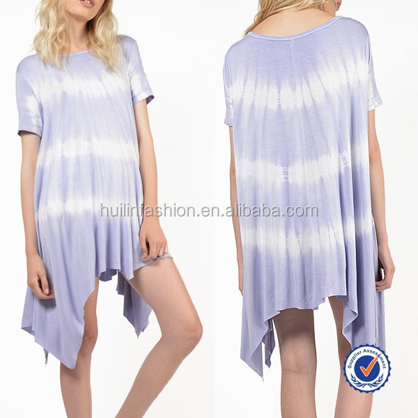 china clothing factory short sleeve asymmetric hem dip dye one size fits all summer dress