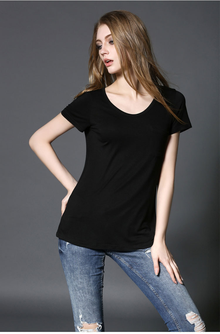 2018 summer new European and American women's slim round neck modal short-sleeved t-shirt women's solid color T-shirt