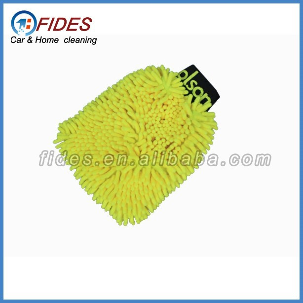 logo embroider plush chenille microfiber car dust wash mitt