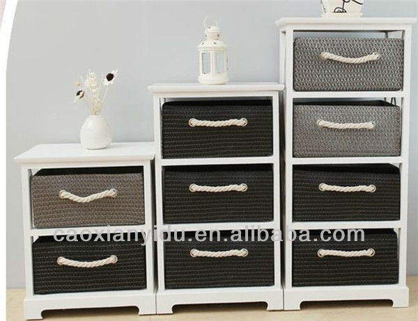 Home Living Room Chest Furniture Cabinets with Woven Drawers Sundries Rack Country Style