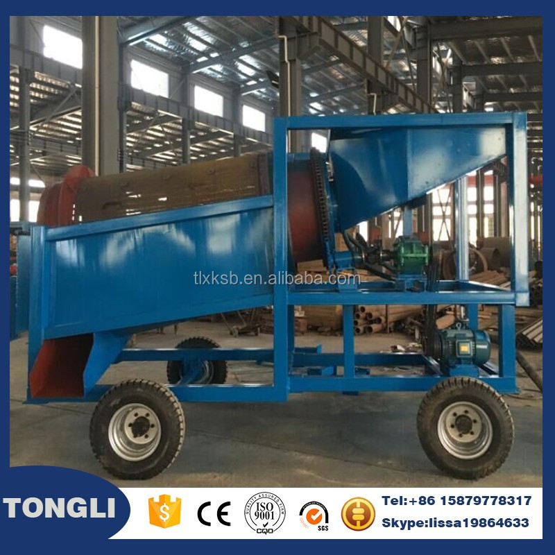 Diesel engine mobile trommel gold washing machine in ghana
