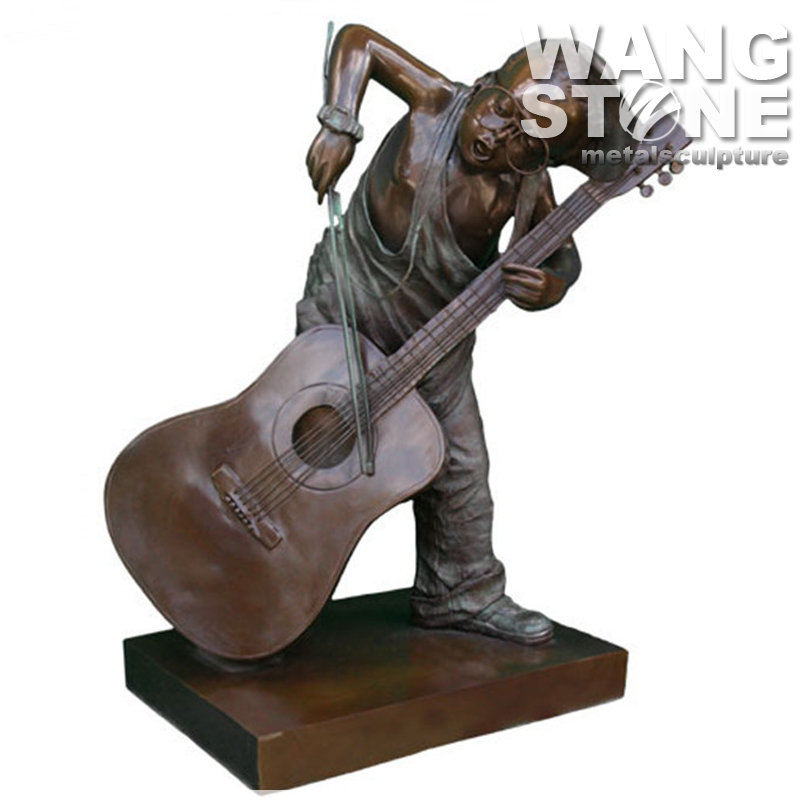 Kid Playing The Violin Bronze Sculpture