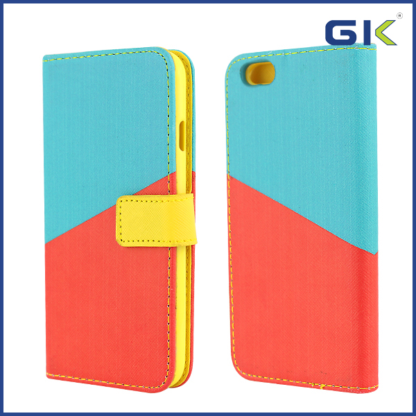 [GGIT] Wholesale Double Color Stitching PU+TPU Combo Case For iPhone 6 Flip Cover